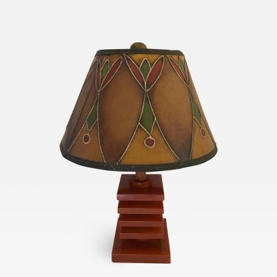 Art Deco Bakelite Catalin and Hand Decorated Shade Lamp