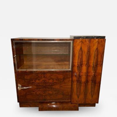 Art Deco Bar Sideboard Walnut Veneer Nickel Glass Door France circa 1930