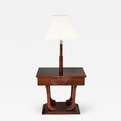 Art Deco Biedermeier Inspired Work Table Lamp in Mahogany Wood France 1930s