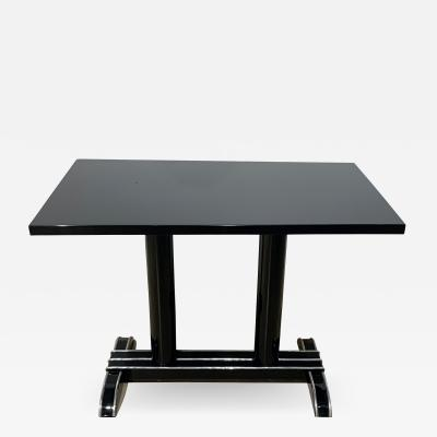 Art Deco Bistro or Side Table Black Lacquer Aluminum Trims France 1930s
