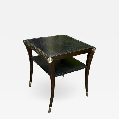 Art Deco Black Crocodile Embossed Leather Top Table