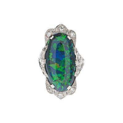 Art Deco Black Opal and Diamond Ring Circa 1925