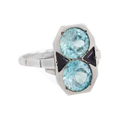 Art Deco Blue Zircon Onyx and White Gold Ring