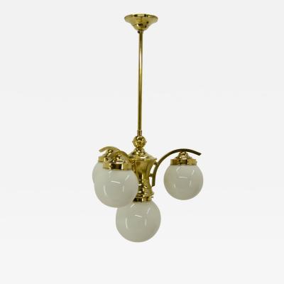 Art Deco Brass 4 flamming Chandelier 1930s