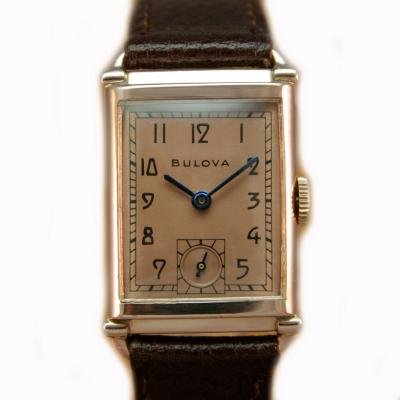 Art Deco Bulova WW2 14k Rose Gold 21 Jewels Gents Wrist Watch Newly Serviced