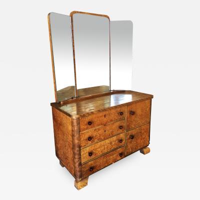 Art Deco Burlwood Dresser w Tri Fold Mirror