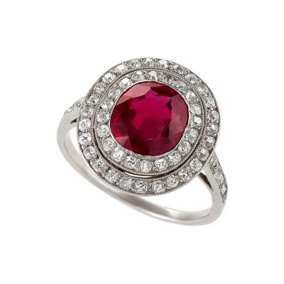 Art Deco Burma Ruby Diamond and Platinum Ring