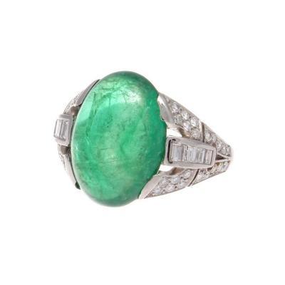 Art Deco Cabochon Emerald Diamond Platinum Ring