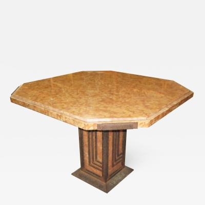 Art Deco Cafe or Game Table in Marble and Iron