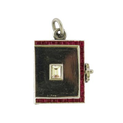 Art Deco Calibrated Ruby Diamond Locket Pendant