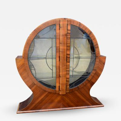 Art Deco Circular Display Vitrine Cabinet in Walnut 1930s
