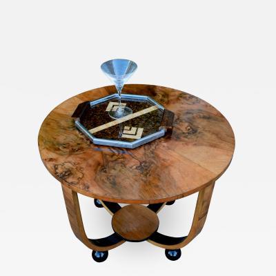 Art Deco Circular Walnut Occasional Table