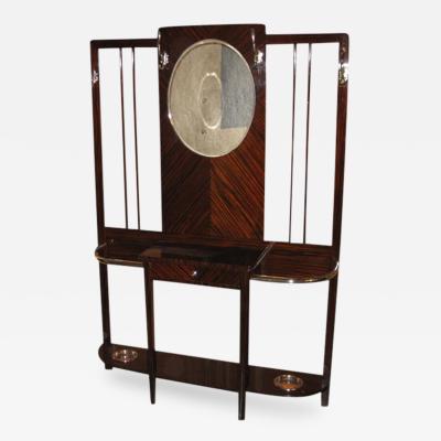 Art Deco Coat Rack with Mirror Macassar