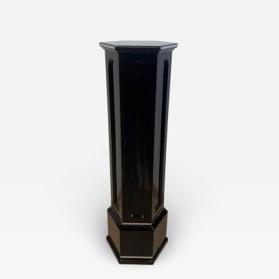 Art Deco Column or Pedestal Hexagonal Black Lacquer on Oak France circa 1930