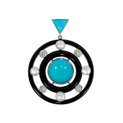 Art Deco Concentric Onyx Ring Pendant with Turquoise Diamonds and Pearls