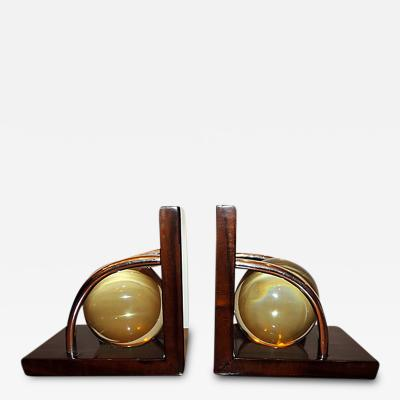 Art Deco Crystal Ball Bookends
