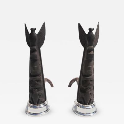 Art Deco Cubist Totem Andirons