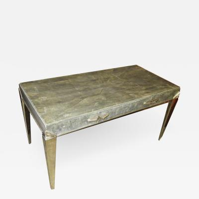 Art Deco Desk in Shagreen and Polished Nickel