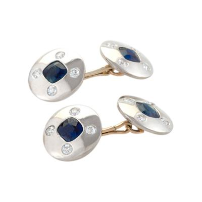 Art Deco Diamond Blue Sapphire and Platinum and Gold Double Sided Cuff Links
