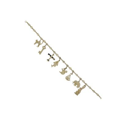 Art Deco Diamond Charm Platinum Bracelet