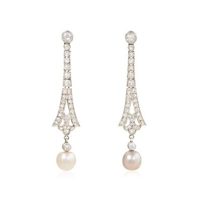 Art Deco Diamond Earrings with Mismatched Pearl Drops