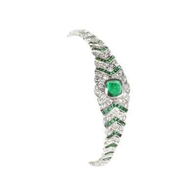 Art Deco Diamond Emerald and Platinum Bracelet