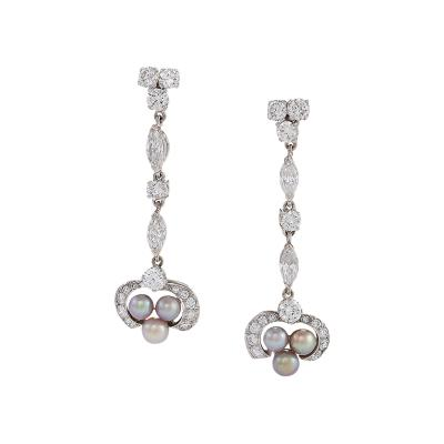 Art Deco Diamond Natural Pearl and Platinum Earrings
