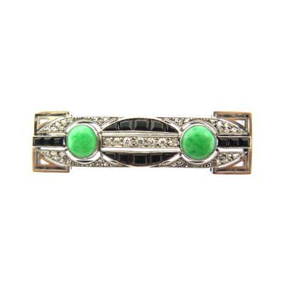 Art Deco Diamond Onyx and Jade Bar Brooch