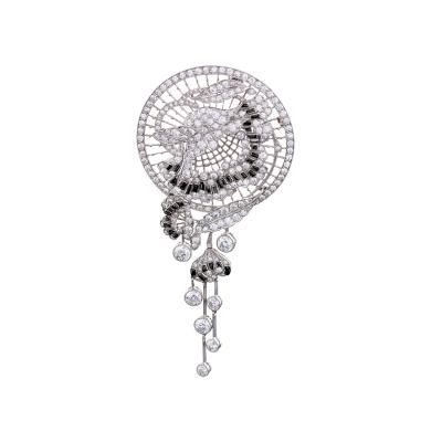 Art Deco Diamond Onyx and Platinum Brooch