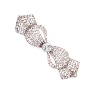 Art Deco Diamond Platinum Bow Brooch