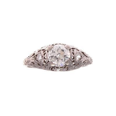 Art Deco Diamond Platinum Engagement Ring