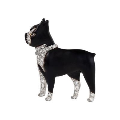 Art Deco Diamond Platinum and Enamel Boston Terrier Brooch