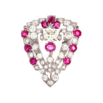 Art Deco Diamond Ruby Platinum Brooch