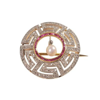Art Deco Diamond Ruby and Pearl Geometric Brooch