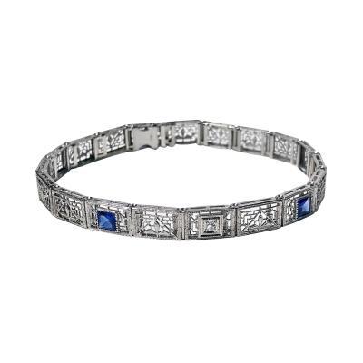 Art Deco Diamond Sapphire Gold Bracelet C 1930