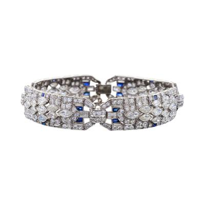 Art Deco Diamond Sapphire and Platinum Art Deco Bracelet