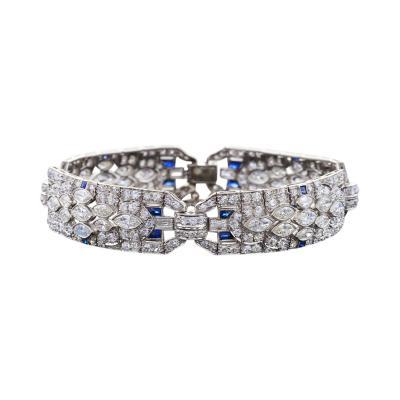 Art Deco Diamond Sapphire and Platinum Art Deco Bracelet
