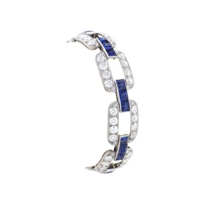 Art Deco Diamond Sapphire and Platinum Link Bracelet