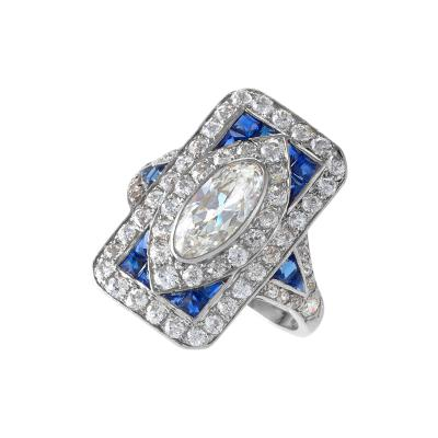 Art Deco Diamond Sapphire and Platinum Plaque Ring