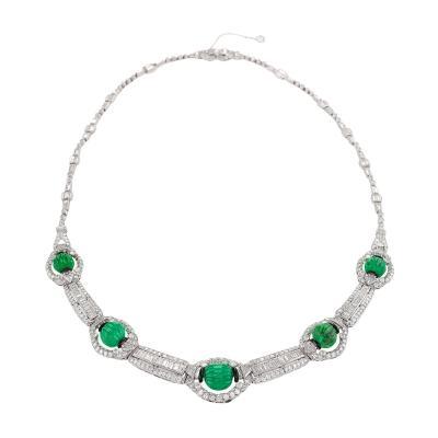 Art Deco Diamond and Emerald Necklace