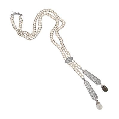 Art Deco Diamond and Natural Pearl Lavaliere