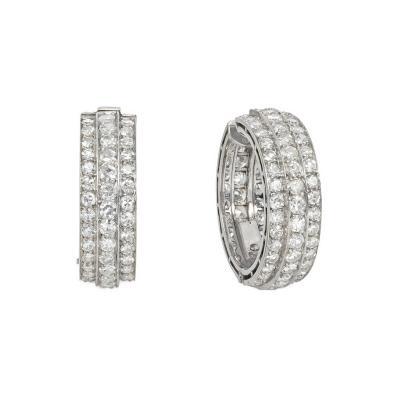 Art Deco Diamond and Platinum Hoop Earrings Portugal