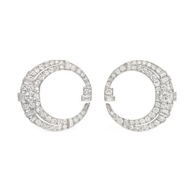 Art Deco Diamond and Platinum Tapered Hoop Earrings