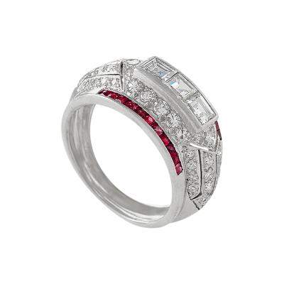 Art Deco Diamond and Ruby Bomb Ring