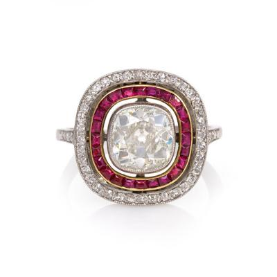 Art Deco Diamond and Ruby Cluster Design Ring