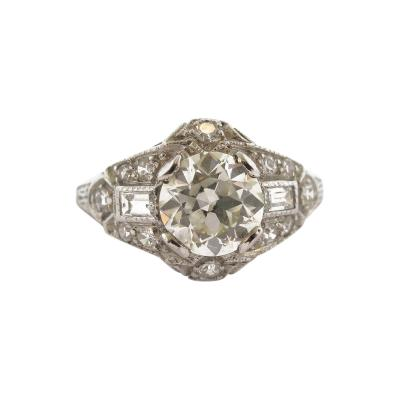 Art Deco Diamond with Baguette Accents Ring
