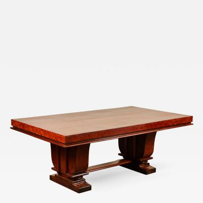 Art Deco Dining Table with Rosewood Burl Top