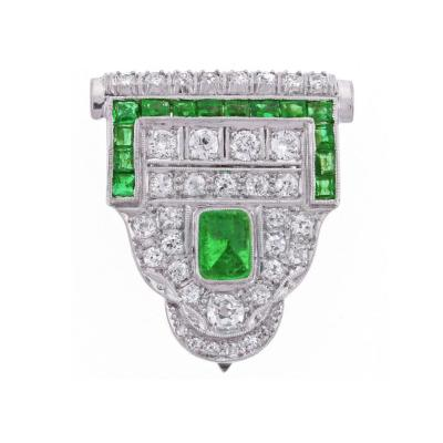 Art Deco Emerald Diamond Single Dress Clip