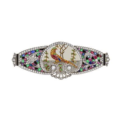 Art Deco Emerald Ruby Sapphire and Diamond Brooch
