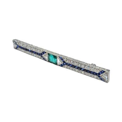 Art Deco Emerald Sapphire Diamond Bar Pin C 1920